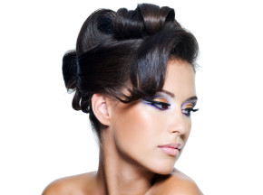 beautiful  woman with stylish curly  hairstyle
